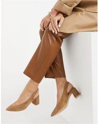 Vero Moda Suede Sling Back Shoes - Brown
