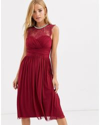 Lipsy Ruched Midi Dress With Lace Yolk And Embellished Neck - Red