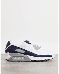 Nike Белые Кроссовки С Серыми Вставками Air Max 90-белый