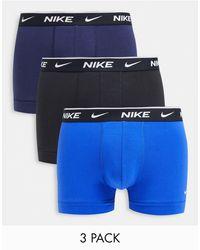 Nike Набор Из 3 Хлопковых Эластичных Боксеров-брифов Черного/темно-синего/синего Цветов -черный Цвет