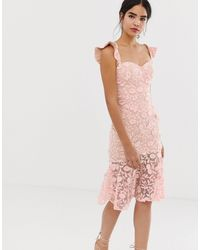 Jarlo All Over Lace Embroidered Midi Dress With Frilly Off Shoulder Detail - Pink