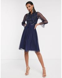 Frock and Frill Frock & Frill Mesh Long Sleeve High Neck Skater Dress - Blue