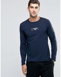 Emporio Armani Slim Fit Long Sleeve Top In Navy - Blue