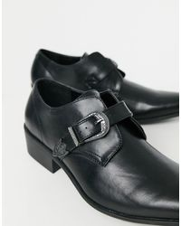 Truffle Collection Western Detail Monk Shoes - Black