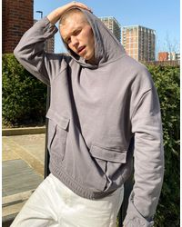 ASOS 4505 Oversized Hoodie With Utility Pockets - Grey