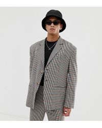 Collusion Oversized Suit Jacket In Brown Check