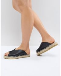 Pieces - Leather Look Mule Espadrille - Lyst