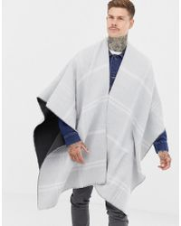 ASOS - Reversible Cape In Grey Grid Check - Lyst