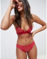 ASOS Lana Eyelash Lace Triangle Bra - Red