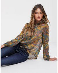 Y.A.S Blouse transparente motif cachemire avec détail plissé - Multicolore