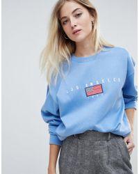 Daisy Street Sweat-shirt décontracté avec broderie vintage « los angeles - Bleu