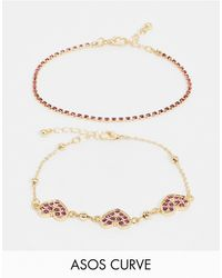 ASOS Asos Design Curve Pack Of 2 Bracelets With Pink Crystal Heart Charms - Metallic