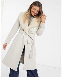 Miss Selfridge Tailored Coat With Faux Fur Trim - Natural