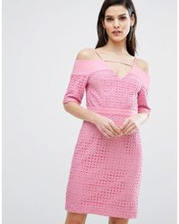 The 8th Sign - The Lace Cold Shoulder Midi Dress - Lyst