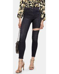 TOPSHOP Jamie Thigh Rip Skinny Jeans - Black