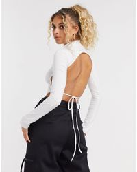 Motel High Neck Backless Crop Top With Saint Print Embroidery - White