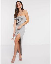 Little Mistress Bow Detail One-shoulder Bridesmaid Dress With Side Split - Grey
