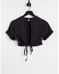 Weekday Little Co-ord Denim Tie Detail Top - Black