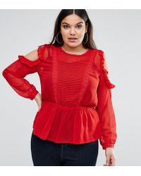 ASOS - Ruffle Cold Shoulder Blouse With Pintuck Front And Lace Insert - Lyst