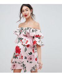 e81c5991ef3 ASOS - Asos Design Maternity Floral Ruffle Shift Off Shoulder Mini Dress -  Lyst