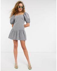 & Other Stories Check Ruffle Mini Skirt - Black