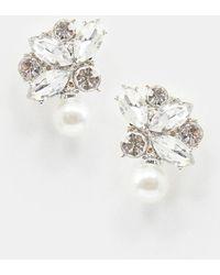 True Decadence - Crystal Drop Earrings With Pearl - Lyst