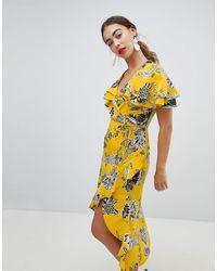 River Island Платье Миди С Запахом И Оборками -желтый
