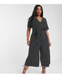 Boohoo Exclusive Culotte Jumpsuit In Black Polka Dot