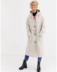ASOS Longline Duffle Coat - Natural