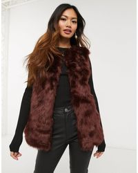Oasis Faux Fur Gilet - Red