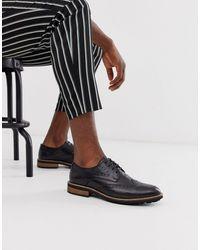 Moss Bros Moss London - Chaussures richelieu en cuir avec semelle épaisse - Noir