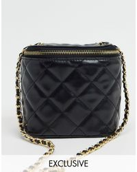 Glamorous Exclusive Quilted Boxy Cross Body Bag With Chain Handle - Black