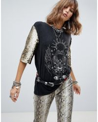 43d42b26e31a8b Native Rose - Oversized Tunic Top With Sequin Sleeves And Bohemian Graphics  - Lyst