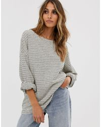 AllSaints Adelise Stripe Long Sleeve Top - White