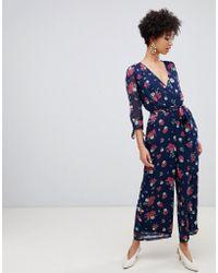 2d38b636162 Vero Moda - 3 4 Length Floral Jumpsuit - Lyst