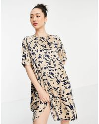 Vero Moda Бежевое Атласное Платье Мини А-силуэта С Завязкой На Спине И Абстрактным Принтом -многоцветный