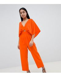 ASOS - Asos Design Petite Jumpsuit With Kimono Sleeve And Peg Leg - Lyst