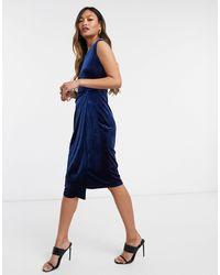 Closet Velvet Pencil Dress - Blue