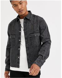 ASOS Oversized Western Denim Shirt - Black