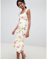 ASOS Vestido midi con sobrefalda en el bajo y detalle festoneado en estampado floral - Multicolor