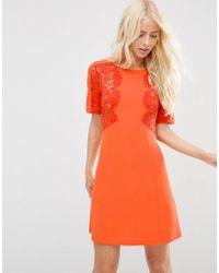 ASOS - Lace Insert Shift Mini Dress - Lyst