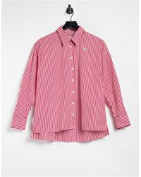 Lacoste Красная Многоцветная Свободная Рубашка На Пуговицах -многоцветный - Красный