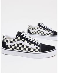 Vans Old Skool Checkerboard Sneakers In