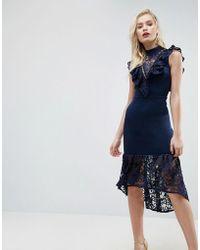 ASOS - Lace Bib Bodycon Pephem Midi Dress - Lyst