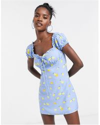 Glamorous Платье Мини Со Сборками На Лифе И Принтом Лимонов -синий