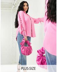 River Island - Розовая Рубашка С Оборкой -розовый Цвет - Lyst