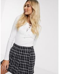 Hollister Long Sleeve Lace Up Top - White