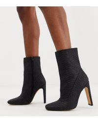 Missguided - Square Toe Faux Suede Ankle Boot In Black Snake - Lyst