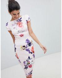 Closet Wardrobe Floral Pencil Dress - Multicolour