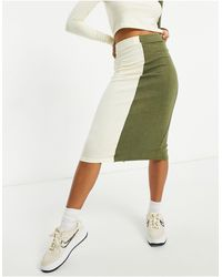 UNIQUE21 Knitted Two Tone Midi Skirt - Green